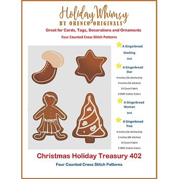 Christmas Holiday Treasury #402 Gingerbread Woman, Tree, Star and Stocking FOUR Counted Cross Stitch Patterns