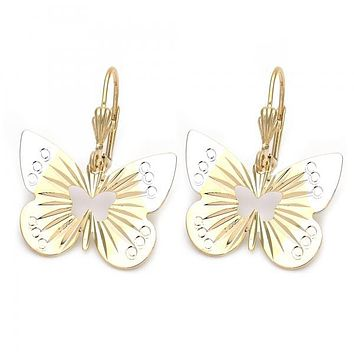 Gold Layered 5.064.008 Dangle Earring, Butterfly Design, Diamond Cutting Finish, Tri Tone