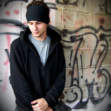 Mens Headband, Black Headband Headwrap, Yoga Headband Ear Warmer Headband (Item 1101) Small