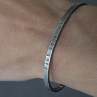 Inspirational Message Bracelet Personalized Cuff Bangle Hand Stamped Sterling Silver Man Jewelry Unisex Bangles Custom Jewelry by SteamyLab