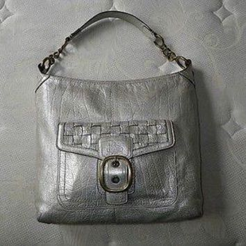 Coach Bleecker Platinum Metallic Woven Pocket Leather Hobo Tote Bag Purse RARE!