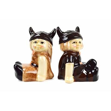 Vintage Salt and Pepper Shakers Norwegian Vikings