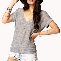 Marled Knit High-Low Top