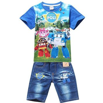 Retail New 2016 Summer POLI ROBOCAR Children boys Clothing Sets, Baby Kids Shirt Jeans Shorts Pants 100% Cotton Clothes Sets