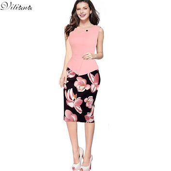 VITIANA 2017 Summer Womens Cheap Vintage Elegant Clothing Print Floral Patchwork Button Casual Work office Party Bodycon Dress