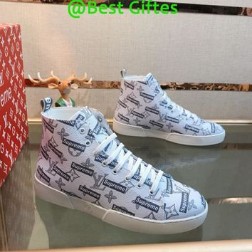 LV Louis Vuitton Men High Top Flag Casual Sneakers Sport Shoes  Boots Fashion Best Quality White