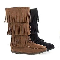 Import By Soda, Round Toe Mid Calf Layered Fringe Moccasin Flat Boots