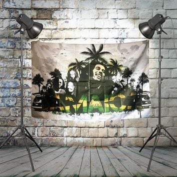 BOB marley JAMAICA Large Rock Flag Banners Four-Hole Wall Hanging Painting Bedroom Studio Party Music Festival Background Decor