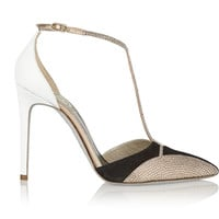 René Caovilla - Swarovski crystal-embellished karung and suede T-bar pumps