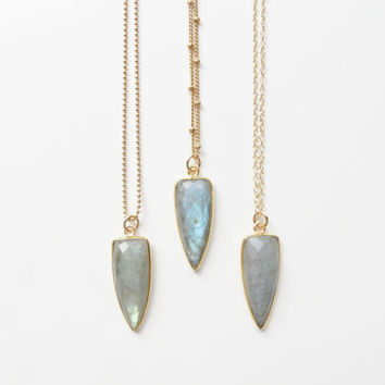 Labradorite Dagger Necklace | Gold Labradorite Necklace | Labradorite Necklace | Boho Necklace | Layering Necklace |
