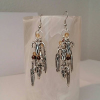 Feather & Skull Earrings by Betsy's Jewelry - Country Western - Rodeo - Native American Styles