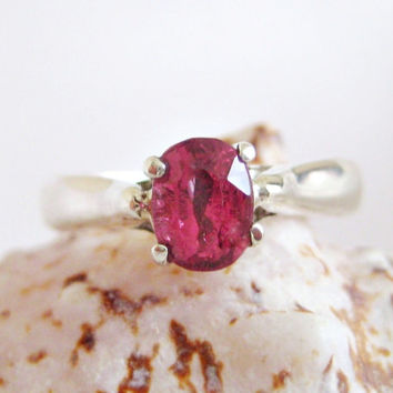 Natural Intense Pink Spinel Sterling Silver Ring made by Hungarian Jeweler Size 6