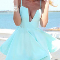 Mint Strapless Homecoming Dress, Deep V Neck Short Summer Homecoming Dress