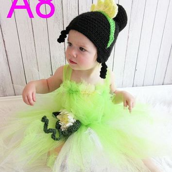 free shipping 10pcs/lot baby Crochet Hat - Princess Tiana Crochet Hat, Princess and the Frog Crochet Hat, Tiana Costume cotton