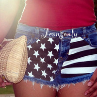 American flag clothing,Low waisted denim shorts,low rise American flag shorts by Jeansonly