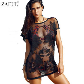 ZAFUL Women See-Through Laced Cover Up Beach Cover Up Tops 2017 Sexy Swimwear Women Beach Swimsuit Bikini Cover Up Beach Dress