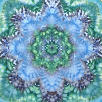 mandala tie dye tapestry wall hanging blue green turquoise aqua purple