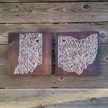 Made to Order String Art Sign, State Sign, String Art, Custom State String Art, Nail and String Art, State Decor, Gallery Wall Decor