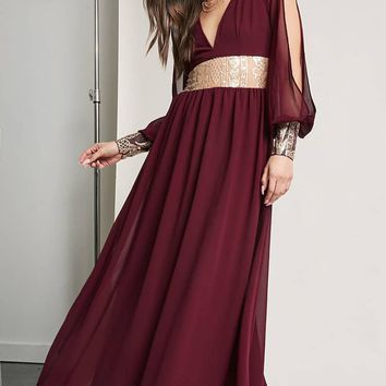 Soieblu Metallic Glitter-Trim Maxi Dress