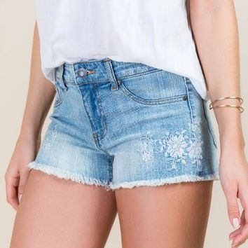 Eunina Mid Rise Embroidered Frayed Hem Jean Shorts