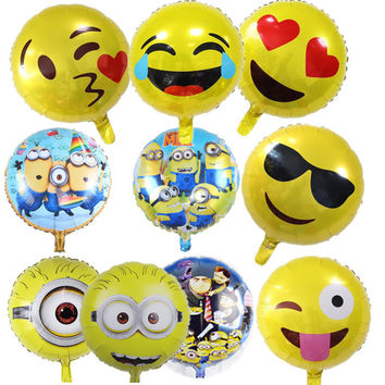 1 piece minion balloon 18 inch round Despicable balloon birthday party Foil helium balloon yellow man cartoon air globos 14 type