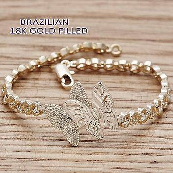 Gold Tone Women Butterfly Fancy Bracelet, by Folks Jewelry