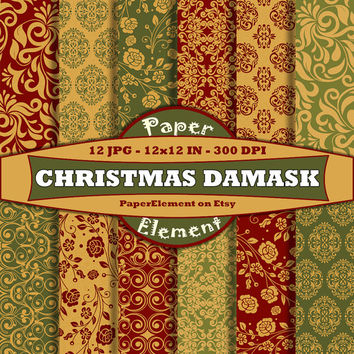 Christmas Digital Paper Pack of Damask Backgrounds in Red Gold and Green - Instant Download - Patterned Paper for Digital Scrapbooking