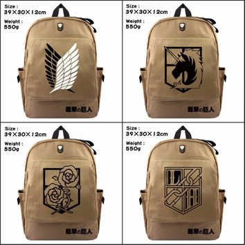 Cool Attack on Titan  Cartoon Backpack Student Boys Girls School Bag for Teenagers CanvasTravel Bag Laptop Shoulder Bags AT_90_11