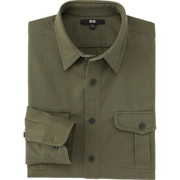 MEN TWILL WORK LONG SLEEVE SHIRT | UNIQLO