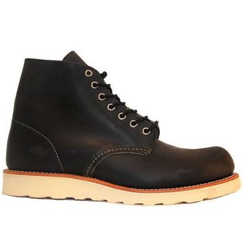 ESBONIG Red Wing Shoes Round Toe Work Boot 6' - Black Leather Lace-Up Boot