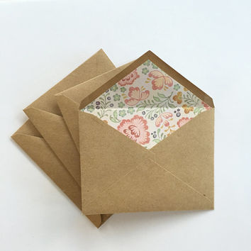 A2 Kraft Envelopes - Set of 4 - Paper lined  pointed flap envelopes - Floral, Spring, Flowers, Stationary, Rustic, Shabby Chic, pink, tan