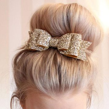 1 Pcs New Fashion Women Hair Clips Lady Girls Sequin Big Bowknot Barrette Hairpin Hair Bow Accessories