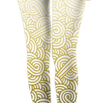 Gradient yellow and white swirls doodles Leggings