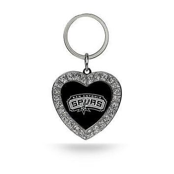Rico Industries NBA San Antonio Spurs Rhinestone Heart Keychain