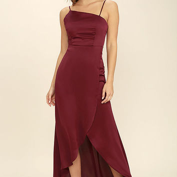 Open Arms Burgundy High-Low Dress