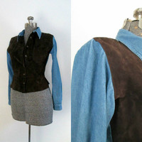 Denim and Suede Shirt Button Front Long Sleeve Peplum Top Size Small / Medium