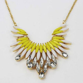 Yellow and White Rhinestone Pendant Necklace