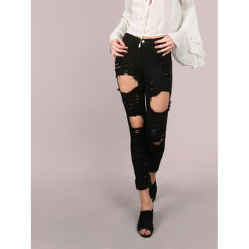 Destroyed Cuffed Skinny Jeans BLACK