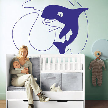 I198 Wall Decal Vinyl Sticker Art Decor Design dolphin baby nursery room sea waves animals fish ocean nature Living Room Bedroom