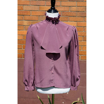 High Neck Collar Fine Dobby Blouse with Ruffle and Jabot. Deep Mauve Purple, Gathered Sleeves, Vintage 70s