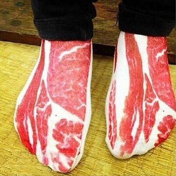 1 Pair Women Men Funny 3D Pork Meat Bacon Low Cut  Casual Ankle Socks