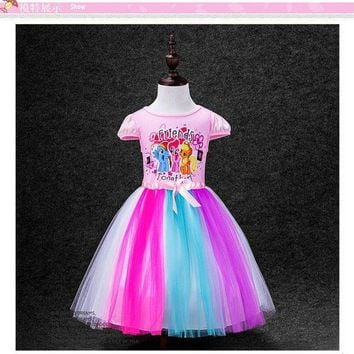 CREY6F CaGiPlay kids Dress My Little Pony Summer minnie Girl Rainbow Dresses Anna Elsa girls princess Costume for Children