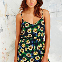 Sunflower Print Playsuit in Black - Urban Outfitters