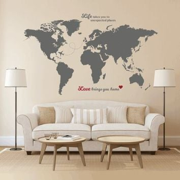 World Map Wall Decal with Quotes - Best for Adventurers and Travellers