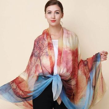 Stylish 100% Silk  printed Scarf wrap