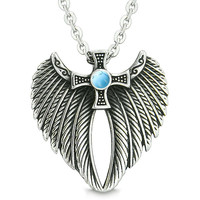 Angel Wings Celtic Viking Cross Magic Powers Amulet Simulated Turquoise Pendant 18 inch Necklace