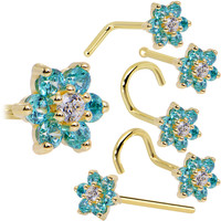 Solid 14KT Yellow Gold Mint Green and Clear Cubic Zirconia Flower Nose Ring
