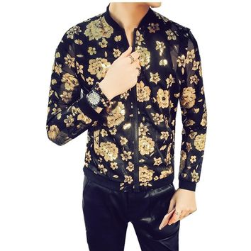 Gold Black Jacket  Men Spring Jacket Foil Gold Jacket Men Zipper Club Outfit Men Streetwear Fashion Designer Transparent Outfit