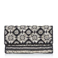Cream Sequin Bead Scallop Clutch