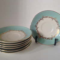 1950's Gold Crown Semi-Vitreous Plates from Lifetime Co of Alliance Ohio. Set of 7